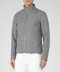 Ace grey funnel neck jacket