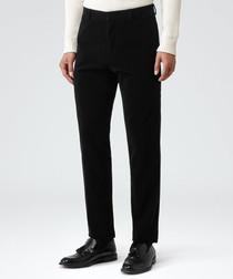 Pontus black cotton modern fit trousers