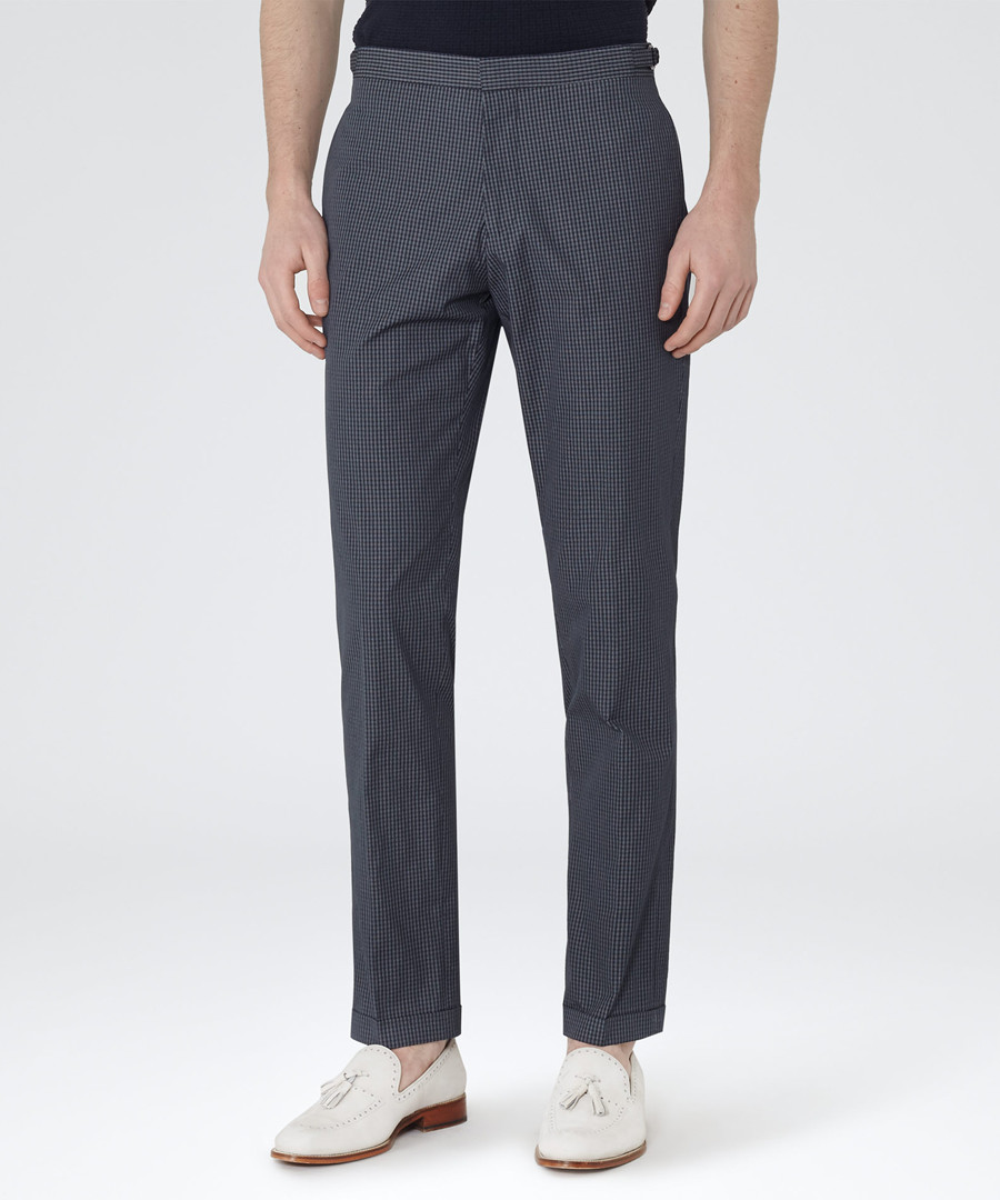 Sampson navy cotton blend trousers Sale - Reiss