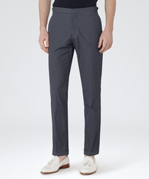 Sampson navy cotton blend trousers