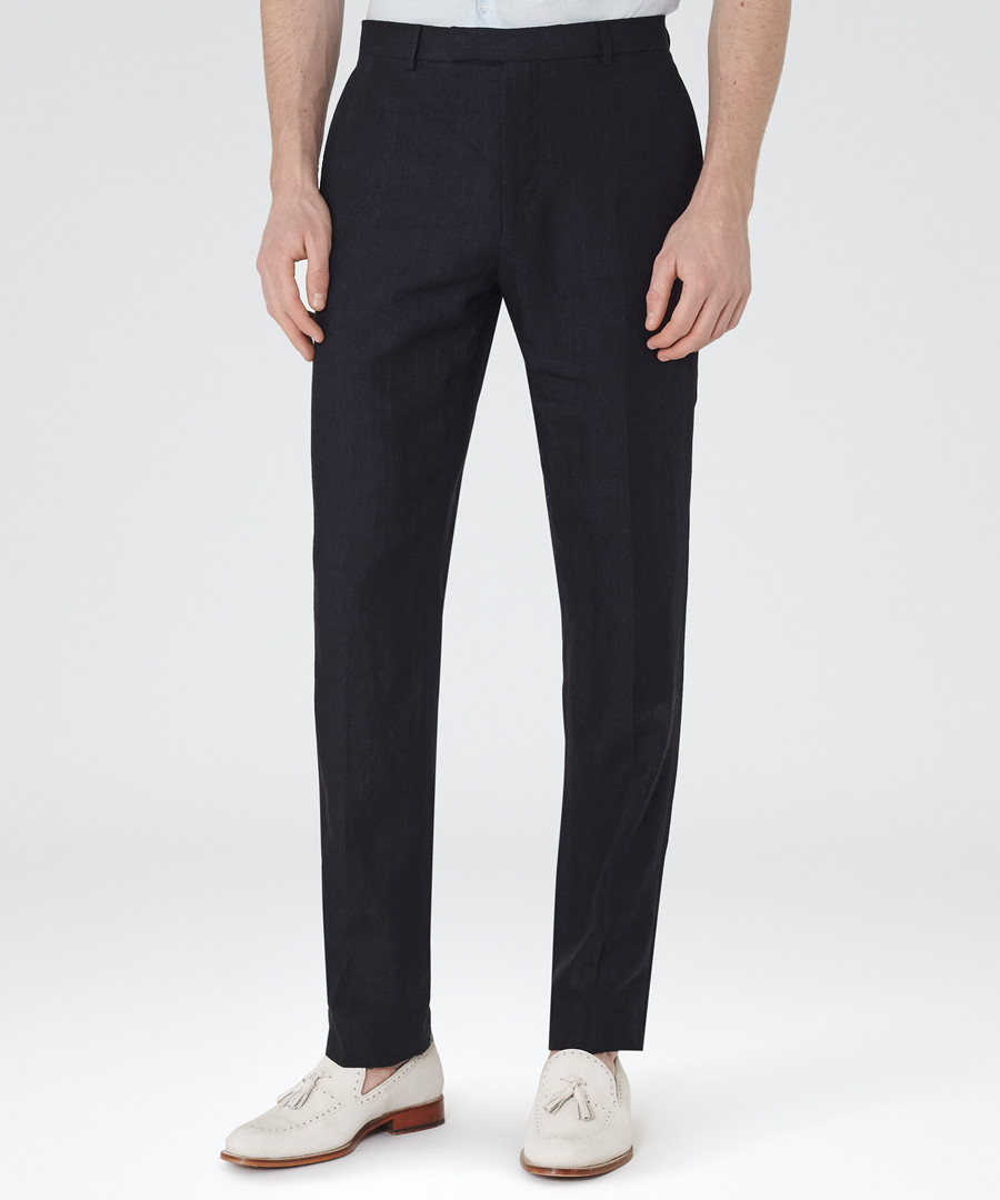 Asher navy pure linen trousers Sale - Reiss