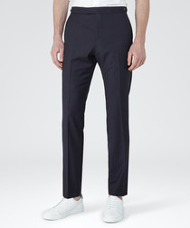 Pose navy wool blend slim fit trousers