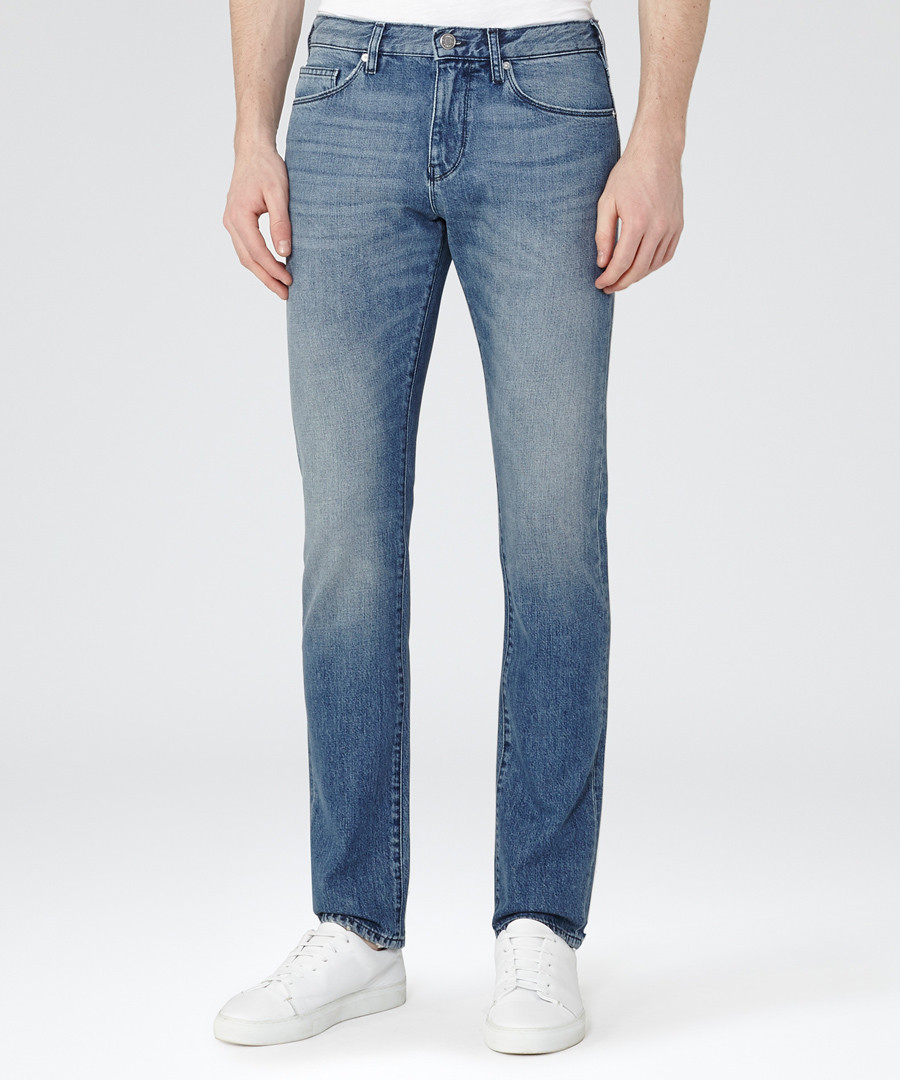 Men's Gunther blue cotton blend jeans Sale - Reiss
