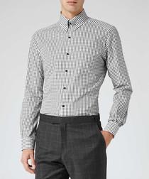 Hoult white & black pure cotton shirt