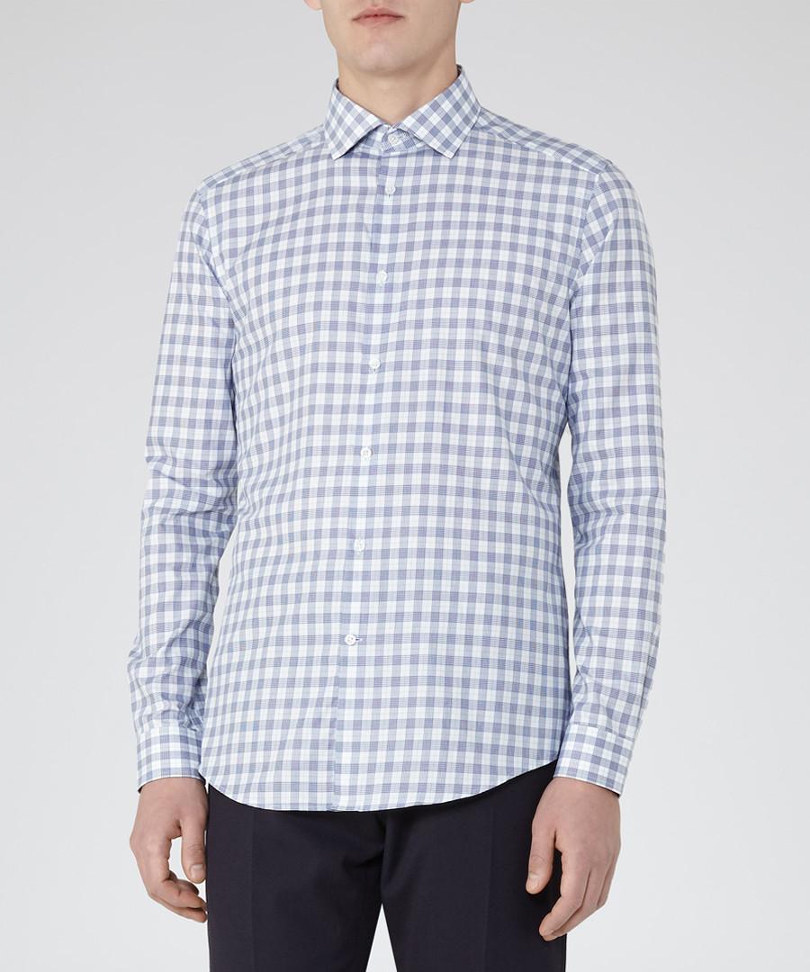 Knight blue cotton check shirt Sale - Reiss