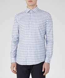 Knight blue cotton check shirt