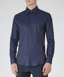 Benson navy blue pure cotton shirt