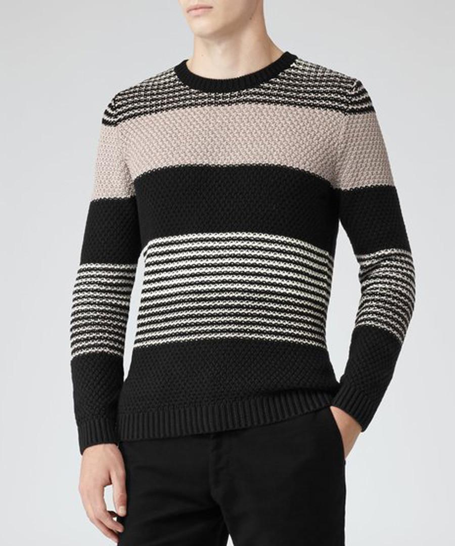 Rigour black & beige pure cotton jumper Sale - Reiss