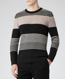 Rigour black & beige pure cotton jumper