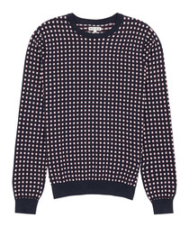 Henry navy pure cotton printed jumper