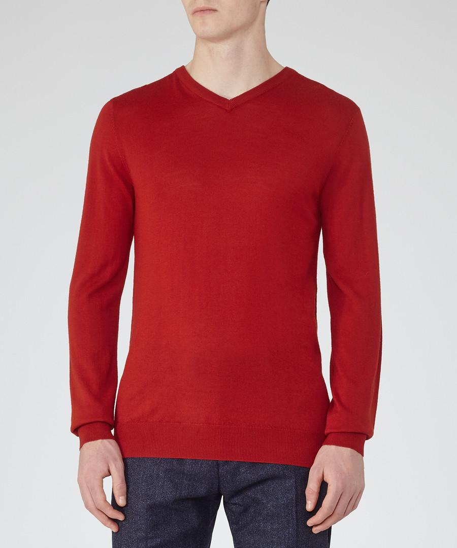 Men's Emperor red pure wool jumper Sale - Reiss