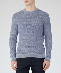 Portland blue pure cotton knit jumper