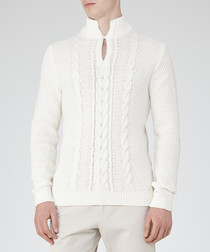 Men's Rigger ecru cotton blend knit jumper