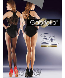 Bella black & red 20 denier tights