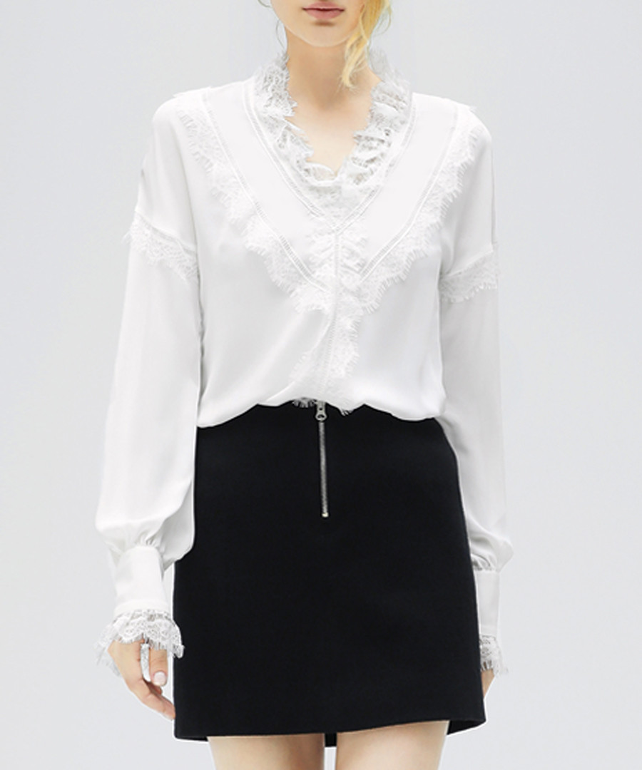 White ruffle detail blouse Sale - cocobella