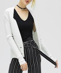 White rib detail cardigan