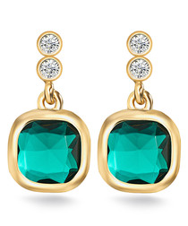 Gold-plated & green crystal earrings