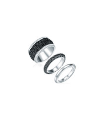 3pc rhodium-plated & black mesh rings