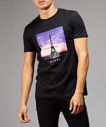 Paris black pure cotton print T-shirt