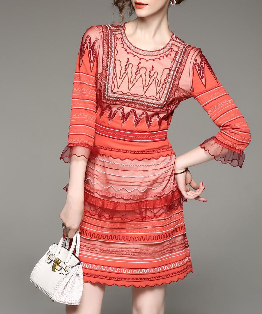 Orange 3/4 sleeve striped mini dress Sale - Zeraco