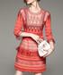 Orange 3/4 sleeve striped mini dress Sale - Zeraco Sale