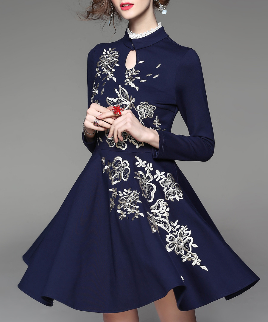 Navy wool blend floral flared dress Sale - Zeraco