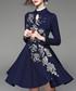 Navy wool blend floral flared dress Sale - Zeraco Sale