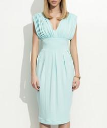 Mint ruched detail plunge dress