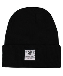 Surplus Co black ribbed beanie hat