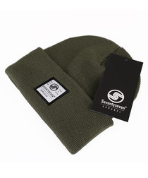 Surplus Co olive ribbed beanie hat