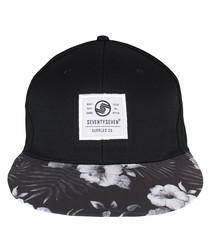 Graphic black cotton twill floral cap