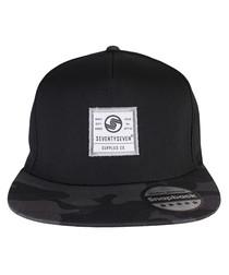 Camo black cotton twill print cap
