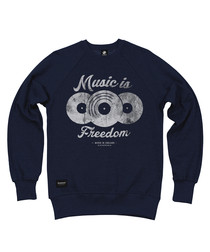 Music Is Freedom navy cotton jumper