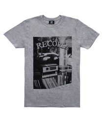 Record Store grey cotton blend T-shirt