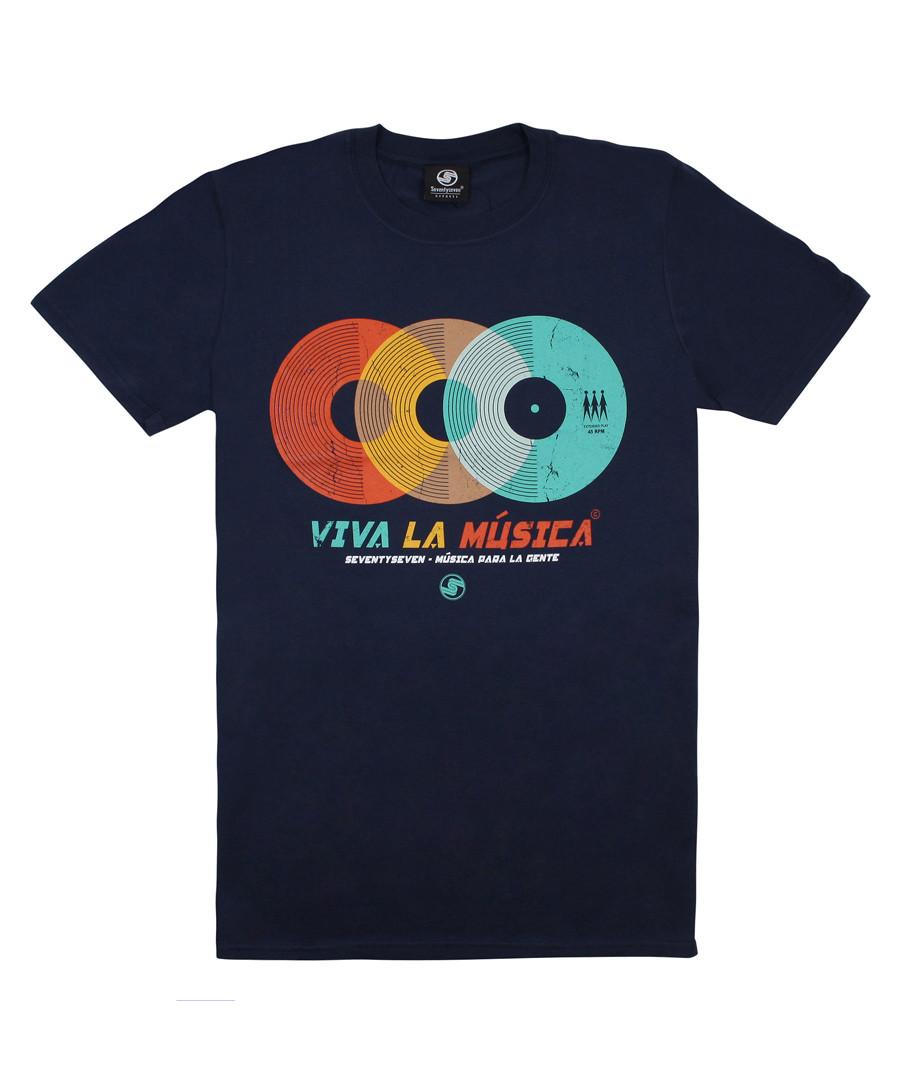 Viva La Muscia navy pure cotton T-shirt Sale - seventyseven