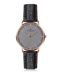 Eiger rose gold-plated & black watch