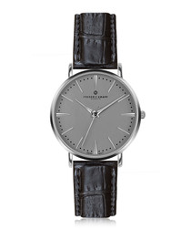 Eiger silver-plated & black watch