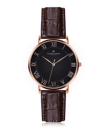 Dom brown & rose gold-tone leather watch