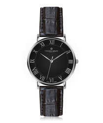 Dom silver-plated & black leather watch