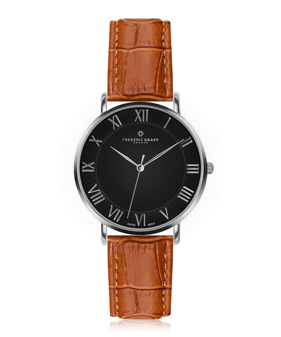 Dom silver-plated & tan leather watch Sale - frederic graff