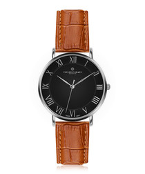 Dom brown & silver-tone leather watch