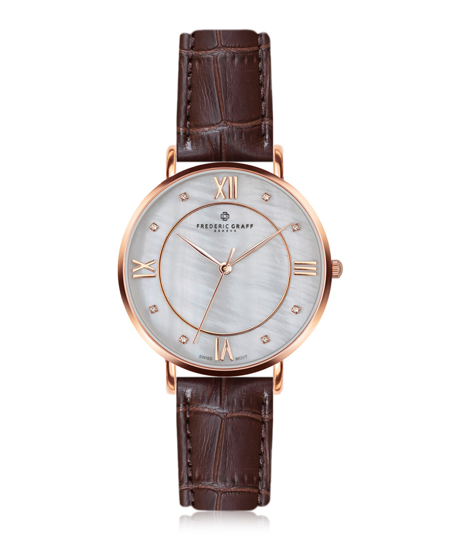 Liskamm rose gold-plated & brown leather Sale - frederic graff