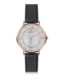 Liskamm black grained leather watch