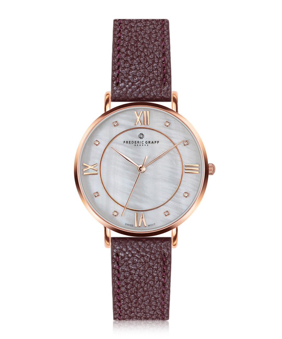 Liskamm bordeaux grained leather watch  Sale - frederic graff