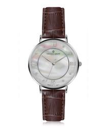 Liskamm silver-plated & brown watch