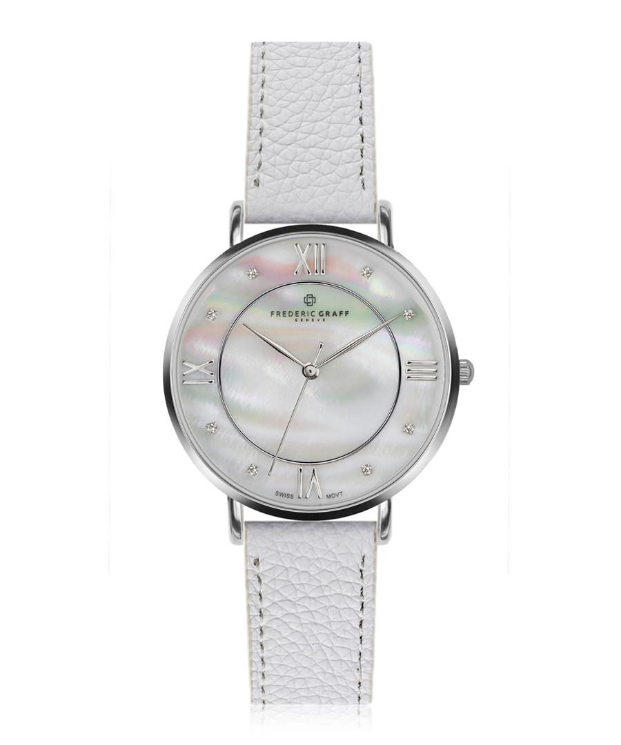 Liskamm silver-plate white leather watch Sale - frederic graff