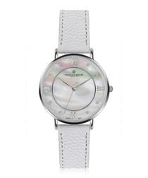 Liskamm white grained leather watch
