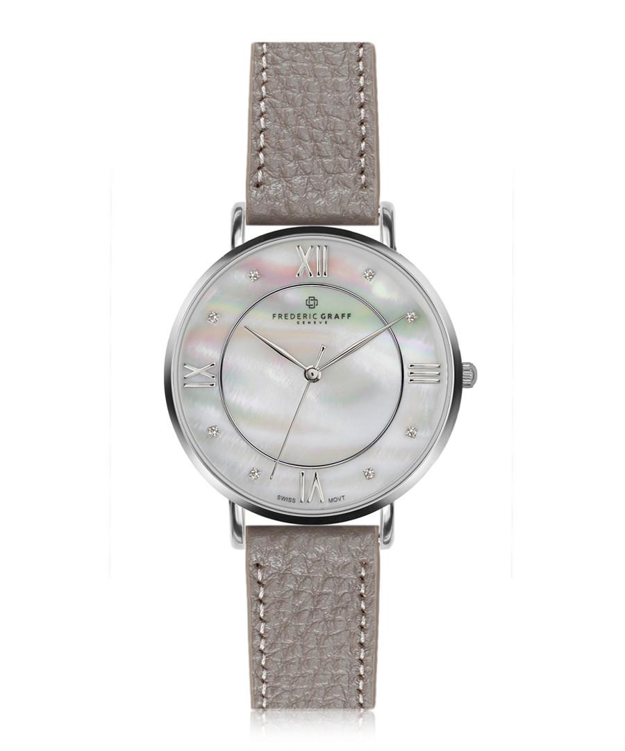 Liskamm silver-plate grey leather watch Sale - frederic graff