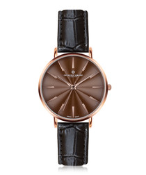 Monte Rosa black leather watch