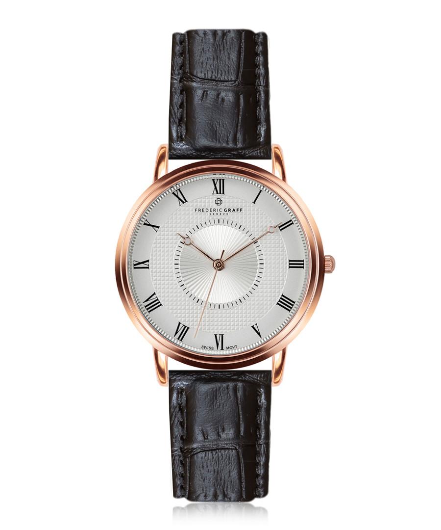 Grand Combin black leather watch Sale - frederic graff